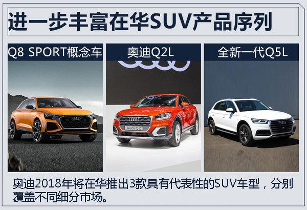 目前,奥迪在华布局有Q3、Q5、Q7以及Q7 e-tron四款SUV车型。明年奥迪品牌将推出3款SUV,进一步扩充SUV产品阵容,其中加长后的全新一代奥迪Q5L将在中型SUV市场更具竞争力。