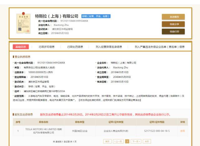 重磅!特斯拉(上海)有限公司获营业执照